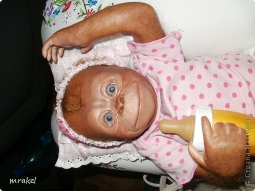 Орангутан Бинди родилась только вчера, и уже  позирует перед объективом. Расписана запекаемыми красками генезис. Глазки вставлены акриловые, когда придёт посылка с материалом, то  поменяем на стекло.  Фоточек пока мало, позже выставлю ещё. фото 2