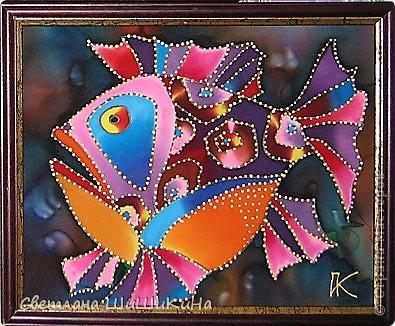Нашла в интернете красоту в технике батик художника и дизайнера Игоря Платова.  Основу отлила из гипса и расписала. фото 3