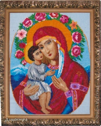 """Предлагаю вашему вниманию иконы,вышитые моей свекровью Любовью Николаевной. Поскольку она далека от Интернета, я выступаю в роли ее """"промоутера"""".Образ Пресвятой Богородицы """"Умиление"""" -  моя самая любимая икона. фото 6"""
