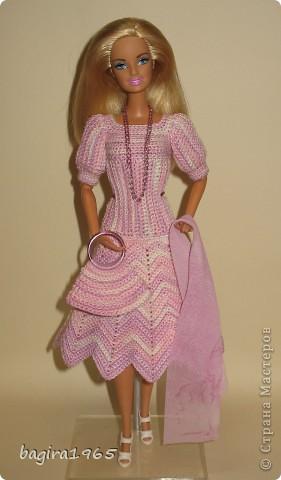 """Первые два весенних комплекта (розовый и бирюзовый) вязались в рамках игры """"Сюрприз"""" на сайте Кимберли.  Они сфотографированы и отправлены к своей новой хозяйке. Первый представляет куколка, которой у меня уже нет. фото 8"""