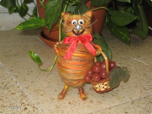 """Котик Мотик:) Немного переделала и добавила винограду в корзину... и сразу вспомнилась песня со словами: """"эх полным полна моя коробушка...""""  Теперь смотрю на котика и настроение поднимается.... Позитивный такой получился котейка:) фото 1"""