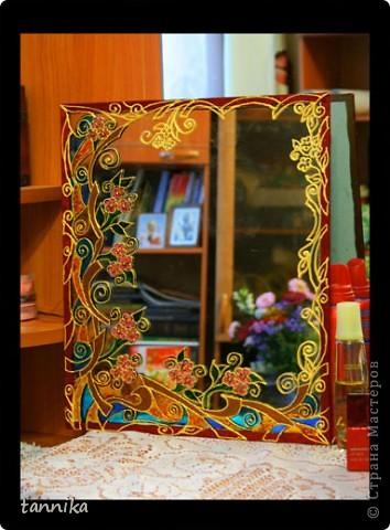 Витражная роспись зеркала своими