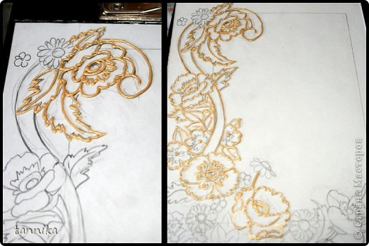 """Фоторамка """"Маки"""". Роспись витражными красками. Материалы: набор витражных красок для детского творчества, золотой контур, фоторамка формата А4. Сложность: для начинающих, с небольшим пробным опытом. Этот урок я делала для своих сестрёнок. фото 4"""