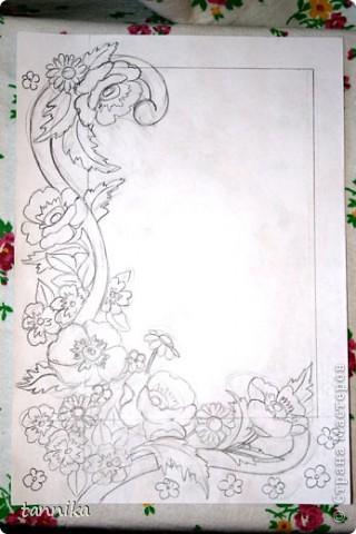 """Фоторамка """"Маки"""". Роспись витражными красками. Материалы: набор витражных красок для детского творчества, золотой контур, фоторамка формата А4. Сложность: для начинающих, с небольшим пробным опытом. Этот урок я делала для своих сестрёнок. фото 2"""