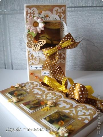Всем доброго времени суток! Сегодня я к вам с комплектом: открыткой и шоколадницей в светло кофейных тонах. фото 1