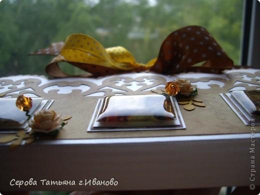 Всем доброго времени суток! Сегодня я к вам с комплектом: открыткой и шоколадницей в светло кофейных тонах. фото 4
