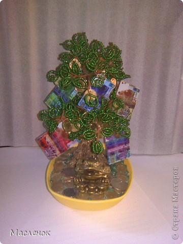 Вот такое денежное дерево сделала для нашей семьи. намучилась с дырочками в монетках, наш казахстанский тенге ни одно сверло не берет, пришлось по-старинке - дюбель и молоток :)))) использовать. фото 1