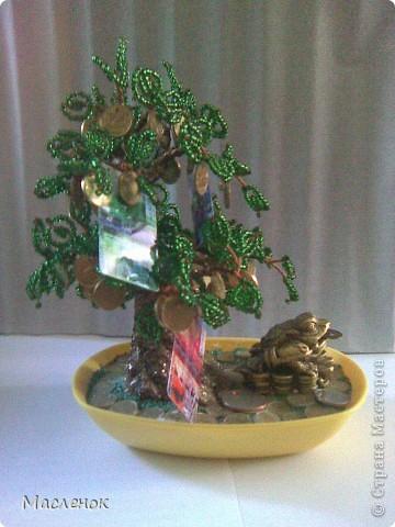 Вот такое денежное дерево сделала для нашей семьи. намучилась с дырочками в монетках, наш казахстанский тенге ни одно сверло не берет, пришлось по-старинке - дюбель и молоток :)))) использовать. фото 5