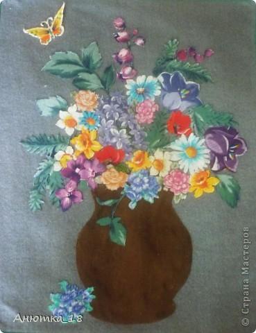 Эту работу я сделала на школьном кружке рукоделия в 15 лет. Из разных кусочков ткани я вырезала цветы и составила из них вот такой букет. Как получилось - судить вам! фото 1