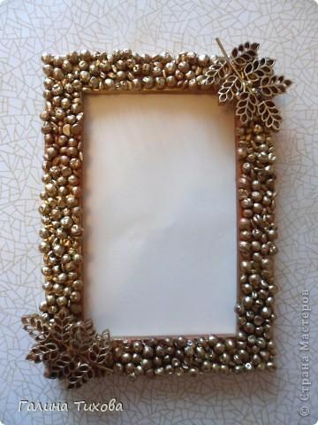 Рамка для фото, декорированная макаронами. фото 10