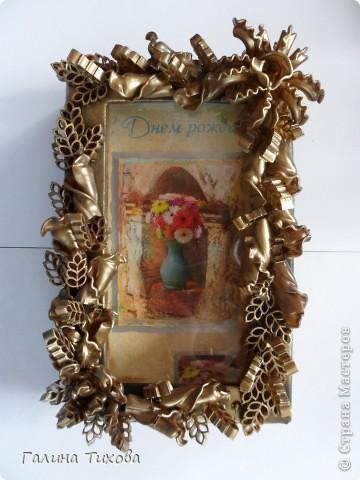 Рамка для фото, декорированная макаронами. фото 9