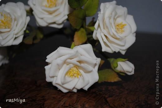 Здравствуйте, дорогие мастерицы, вот после долгого молчания выставляю на ваш суд мои новые цветы. Правда, определиться с их названием не могу, что-то среднее между садовой розой и шиповником...  фото 3