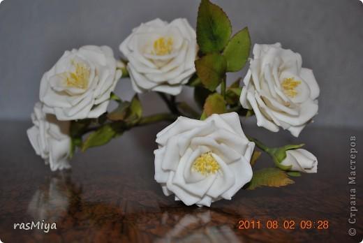 Здравствуйте, дорогие мастерицы, вот после долгого молчания выставляю на ваш суд мои новые цветы. Правда, определиться с их названием не могу, что-то среднее между садовой розой и шиповником...  фото 2