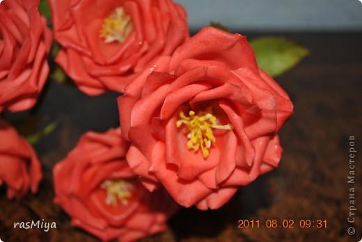 Здравствуйте, дорогие мастерицы, вот после долгого молчания выставляю на ваш суд мои новые цветы. Правда, определиться с их названием не могу, что-то среднее между садовой розой и шиповником...  фото 6