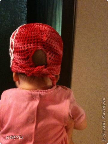 вот такую банданку связала своей ляльке,когда ей было еще 2 месяца,уже перевязывала,т.к. головка растет,а от банданки все в восторге))сейчас нам 5 - носим с удовольствием))) фото 3