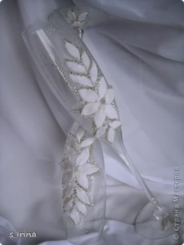 Свадебные бокал по мотивам платья невесты фото 7