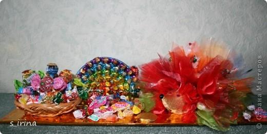 Ежик из конфет фото 8