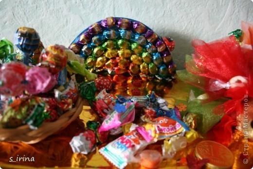 Ежик из конфет фото 15