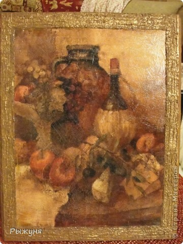 Панно -Старинный натюрморт. Рисовая карта, кракле, шпатлевка. бронзовая краска. Размер 35*45см. фото 1
