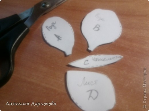 Вам потребуется:  Цветная гофрированная бумага – для цветка;  Зелёная гофрированная бумага – для чашелистиков и листьев;  Проволока «волосы ангела»;  Металлический стебель, шпажка (зубочистка).  Шаблоны лепестков (А и В), чашелистика (С) и листа (Д) фото 2