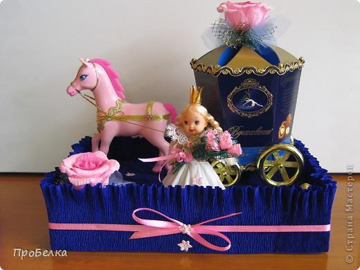 Идея не моя. Подобные работы есть на других сайтах, но я придумала в своём цвете, со своими конфетами... Девочке в подарок на день рождения(11 лет). Эдакая оформлялка коробок с конфетами, их 2: карета и платформа. Плюс симпатичные игрушки, если захочет поиграть ещё... фото 1