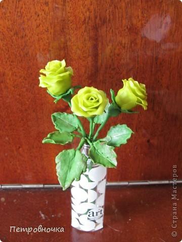 Насмотревшись на чужие розы, опять пытаюсь создать, что-то более совершенное. Вот впервые окрасила массу масляной краской, большой разницы с гуашью пока не ощутила. Но зато оценила совет варить массу в посуде с антипригарным покрытием. фото 3