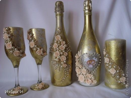 Декор предметов Свадьба Декупаж Лепка Наборчики Бисер Бусинки Бутылки стеклянные Пластика фото 6