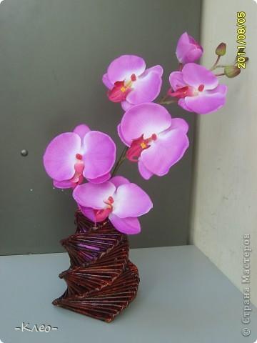 Подарили мне на работе искусственную ветку орхидеи...она так сиротливо валялась, что я не выдержала и сплела для нее вазочку)))) фото 1