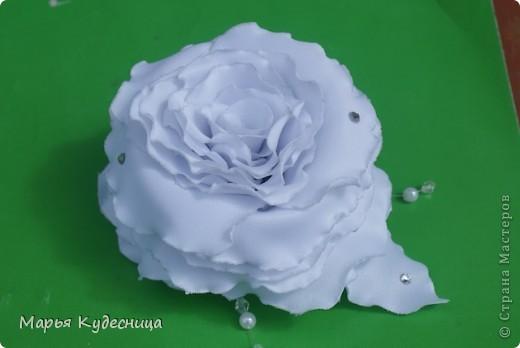 Уважаемые мастерицы, это моя пробная роза (сделала из нее заколку дочери к 1 сентября). Одна невеста заказала у меня розу в прическу, вот я и тренировалась. Мне нужна критика и советы как можно ее улучшить и сделать более живой фото 2