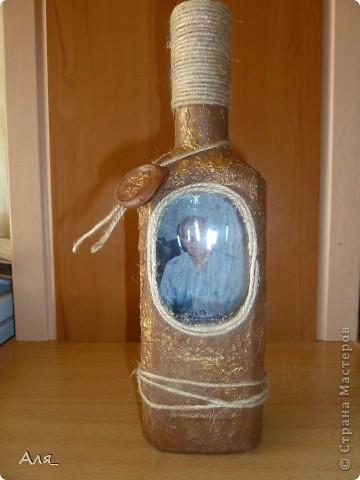 Это моя первая бутылочка. Насмотрелась я всякой красоты и решила сделать вот такую бутылочку в подарок папе... фото 1