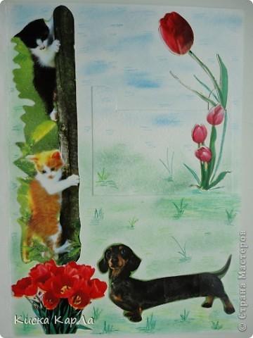 Захотелось сделать открытки, которые можно дарить без всякого повода... Взяла старые обложки от тетрадок, закладки, календари, наклейки....и вот что получилось... Это №1 фото 6