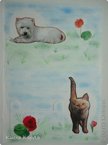 Захотелось сделать открытки, которые можно дарить без всякого повода... Взяла старые обложки от тетрадок, закладки, календари, наклейки....и вот что получилось... Это №1 фото 8