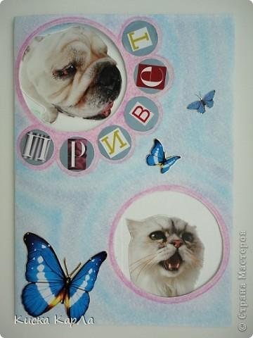 Захотелось сделать открытки, которые можно дарить без всякого повода... Взяла старые обложки от тетрадок, закладки, календари, наклейки....и вот что получилось... Это №1 фото 9