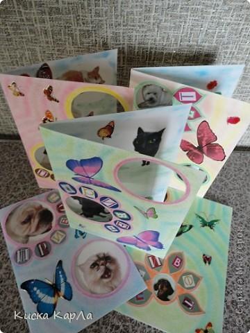 Захотелось сделать открытки, которые можно дарить без всякого повода... Взяла старые обложки от тетрадок, закладки, календари, наклейки....и вот что получилось... Это №1 фото 11