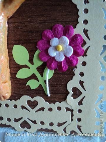 Вдохновилась на эту работу вот здесь http://stranamasterov.ru/node/150098?c=favorite . И вот, что получилось у меня! Цветочек, рамочка и листочек - это Ваш подарок, мои друзья! Улыбнемся вместе с этим забавным Рыжиком и понесем хорошее настроение дальше! фото 3