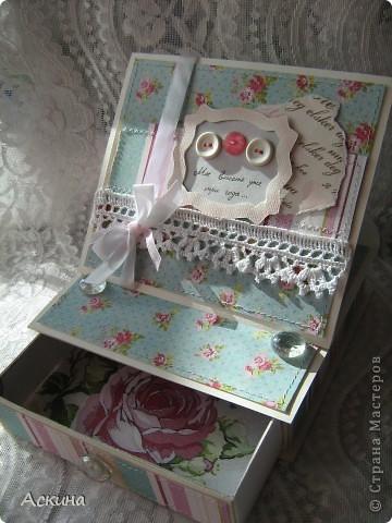 Идею такой шкатулки увидела у нашей мастерицы Юлии (YuliaM) http://stranamasterov.ru/node/201229 и сразу же захотелось сделать,тем более повод был. фото 5