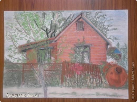 отдыхая на даче в Зарайске,меня вдохновил соседский домик ) вот и решила его изобразить)) только вот сфотографировать удачно не получилось((