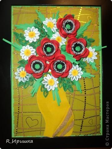 ромашки и маки Это моя первая картина такого объёма. Спасибо большое Ольге Геннадьевне Ольшак за идею маков и вазы, Ларисе Засадной за ромашки! фото 1