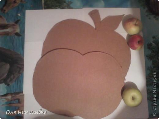 Сестрёнке на день рождения, дарю поднос в яблоках, изготовленный из картона. фото 2