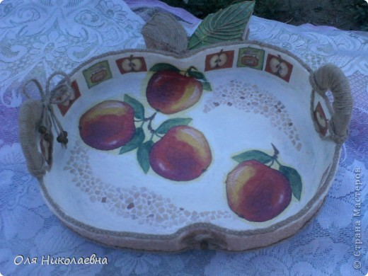 Сестрёнке на день рождения, дарю поднос в яблоках, изготовленный из картона. фото 13