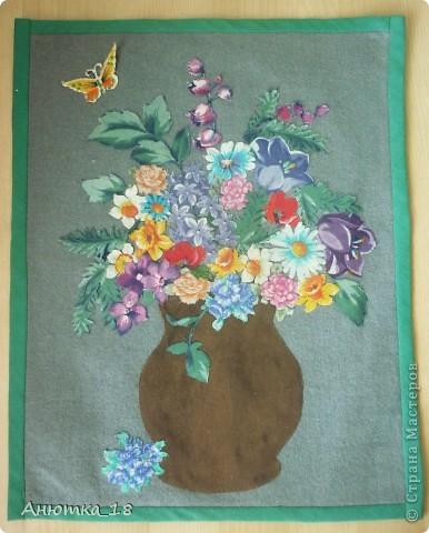Эту работу я сделала на школьном кружке рукоделия в 15 лет. Из разных кусочков ткани я вырезала цветы и составила из них вот такой букет. Как получилось - судить вам! фото 2