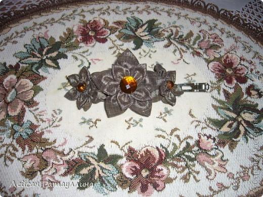 """Заколка-краб  """"Роза-пион"""". Шелк, тафта, атласные ленточки, бусины. фото 5"""