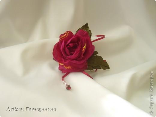 """Заколка-краб  """"Роза-пион"""". Шелк, тафта, атласные ленточки, бусины. фото 1"""