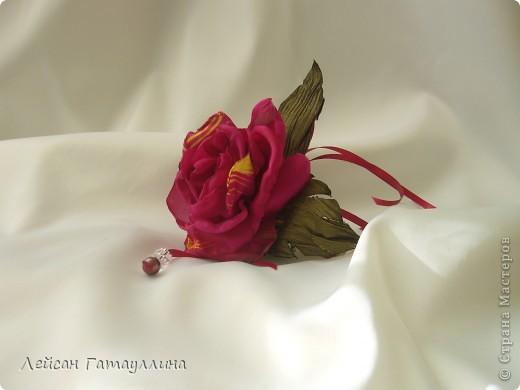 """Заколка-краб  """"Роза-пион"""". Шелк, тафта, атласные ленточки, бусины. фото 2"""