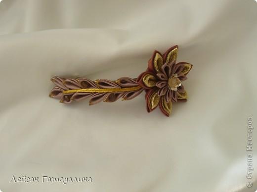 """Заколка-краб  """"Роза-пион"""". Шелк, тафта, атласные ленточки, бусины. фото 6"""