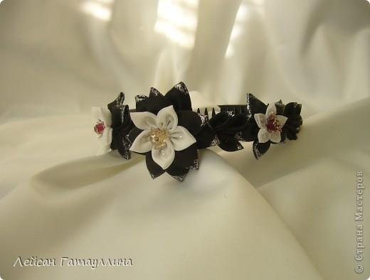 """Заколка-краб  """"Роза-пион"""". Шелк, тафта, атласные ленточки, бусины. фото 9"""