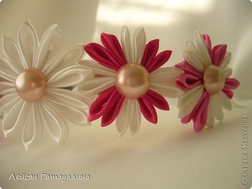 """Заколка-краб  """"Роза-пион"""". Шелк, тафта, атласные ленточки, бусины. фото 16"""