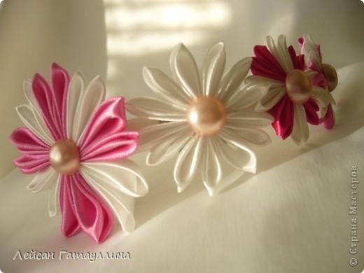 """Заколка-краб  """"Роза-пион"""". Шелк, тафта, атласные ленточки, бусины. фото 15"""