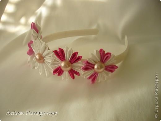"""Заколка-краб  """"Роза-пион"""". Шелк, тафта, атласные ленточки, бусины. фото 13"""