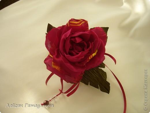 """Заколка-краб  """"Роза-пион"""". Шелк, тафта, атласные ленточки, бусины. фото 3"""